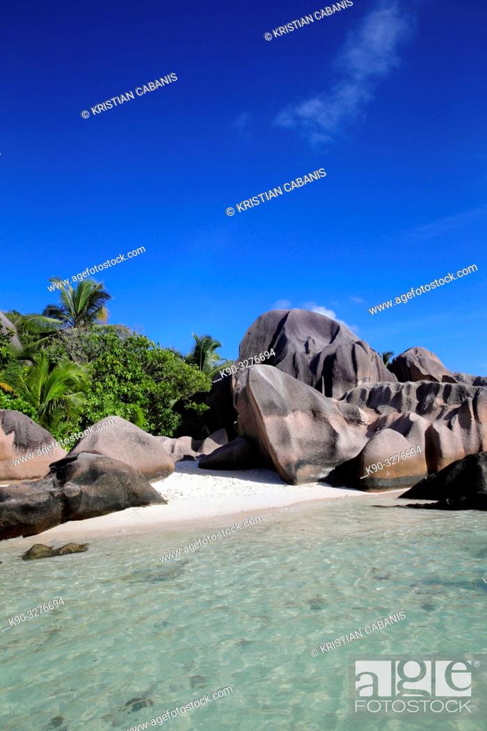 Stock Photo: Grand Anse, Beach on La Digue, Seychelles, Indian Ocean, Africa.