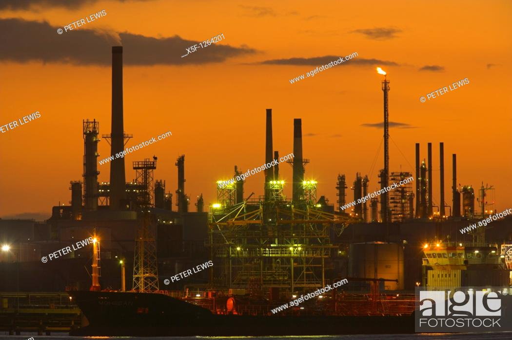 Stock Photo: Fawley Oil Refinery at Sunset Fawley nr Southampton Hampshire.