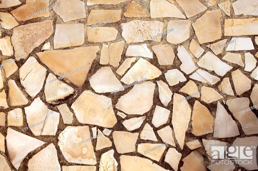 Stock Photo: masonry rock stone tiles floor on the park background pattern texture.