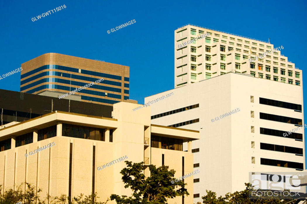 Stock Photo: Low angle view of buildings in a city, Miami, Florida, USA.