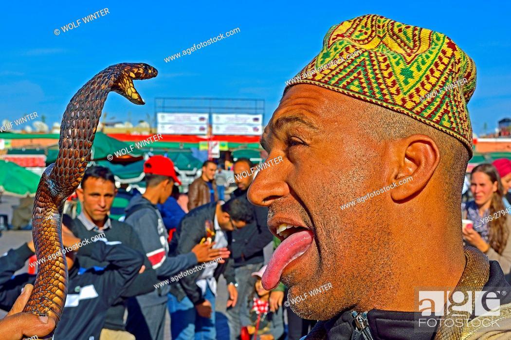Stock Photo: Snake Charmer at Djema el Fna Place. Marakesh, Morocco.