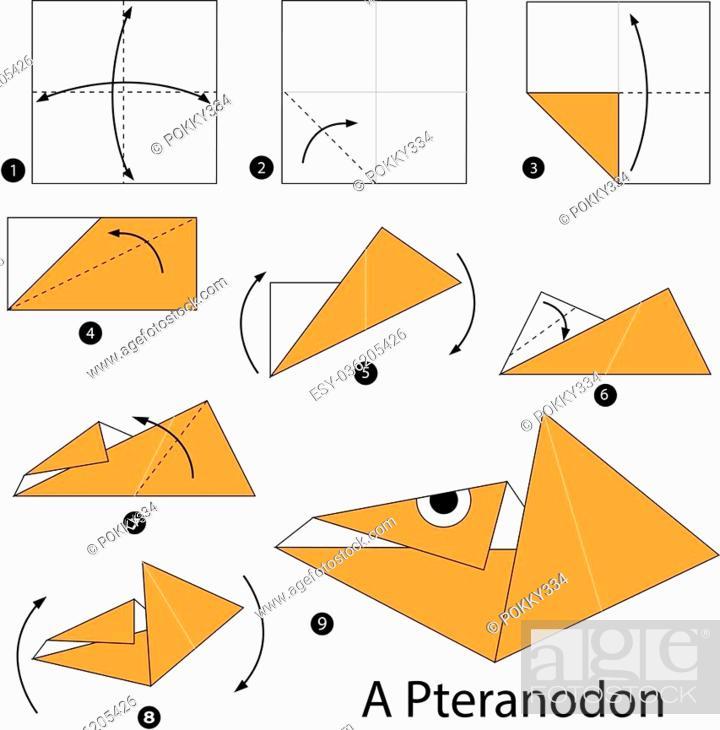 Origami Pterodactyl EASY origami dinosaur - Yakomoga Origami easy ... | 710x700