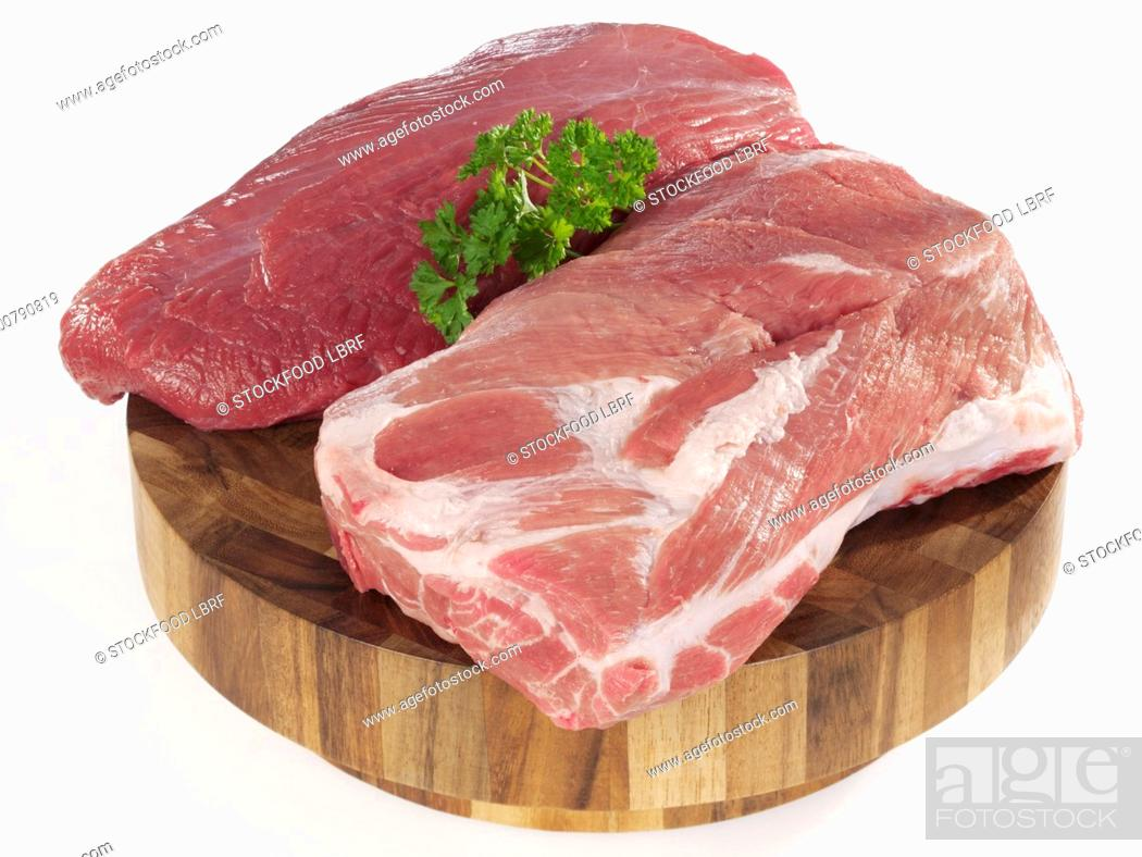Stock Photo: Chuck tender beef and pork neck.
