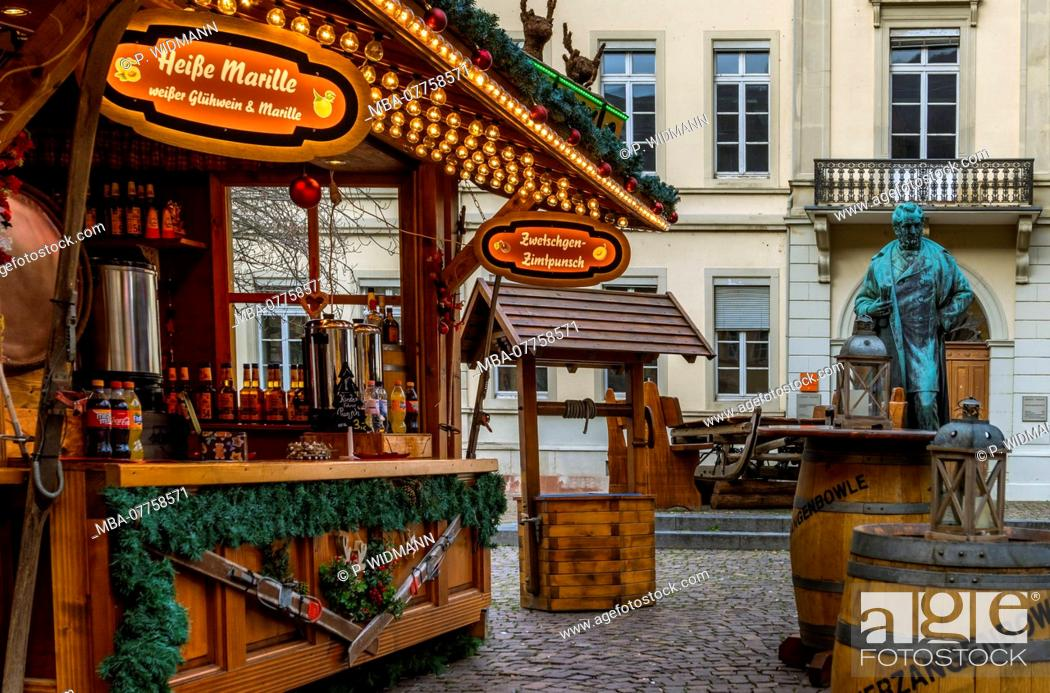Stock Photo: Christmas market on Anatomiegarten Square in the Old Town of Heidelberg, Heidelberg, Baden-Wuerttemberg, Germany, Europe.
