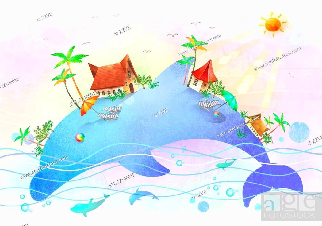 Stock Photo: beach island on dolphin body.