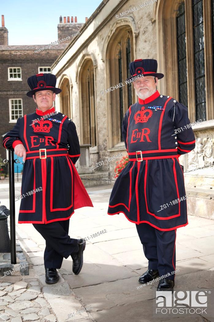 Stock Photo: Traditional 'Beefeater' Yeoman Warder guards on duty in the grounds of the Tower of London  City of London England UK.