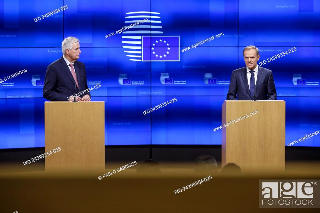 Stock Photo: Brussels , 15/11/2018 European Union chief Brexit negotiator Michel Barnier and European Council President Donald Tusk give a press point after meeting at the.