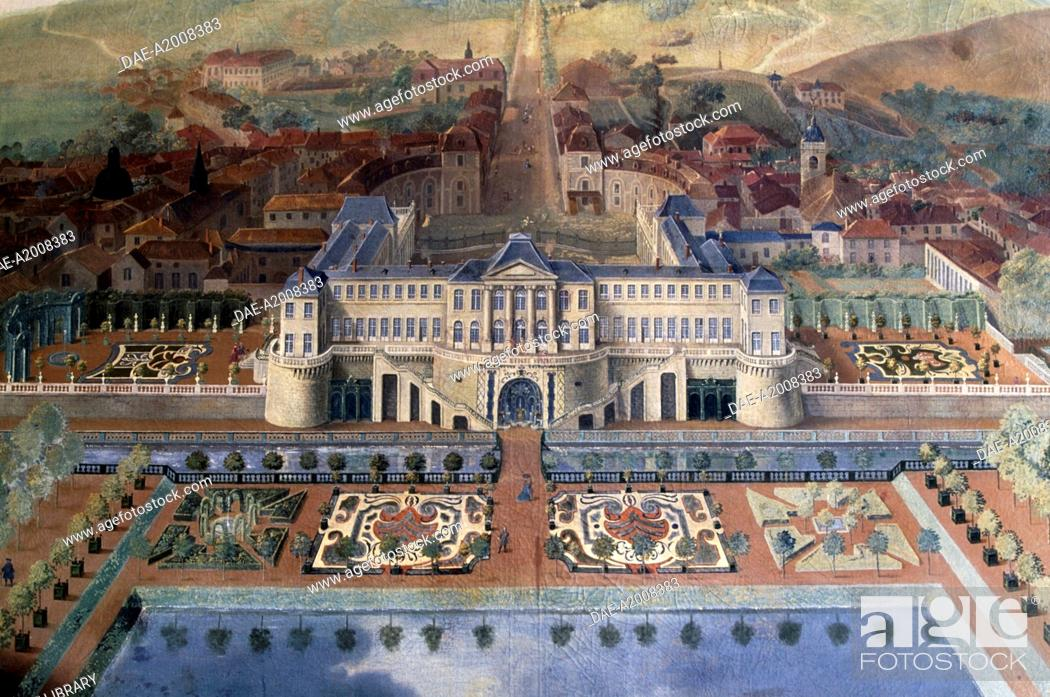 Stock Photo: Chateau Stanislas in the 18th century, painting by anonymous, Chateau Stanislas, Commercy, Lorraine, France.