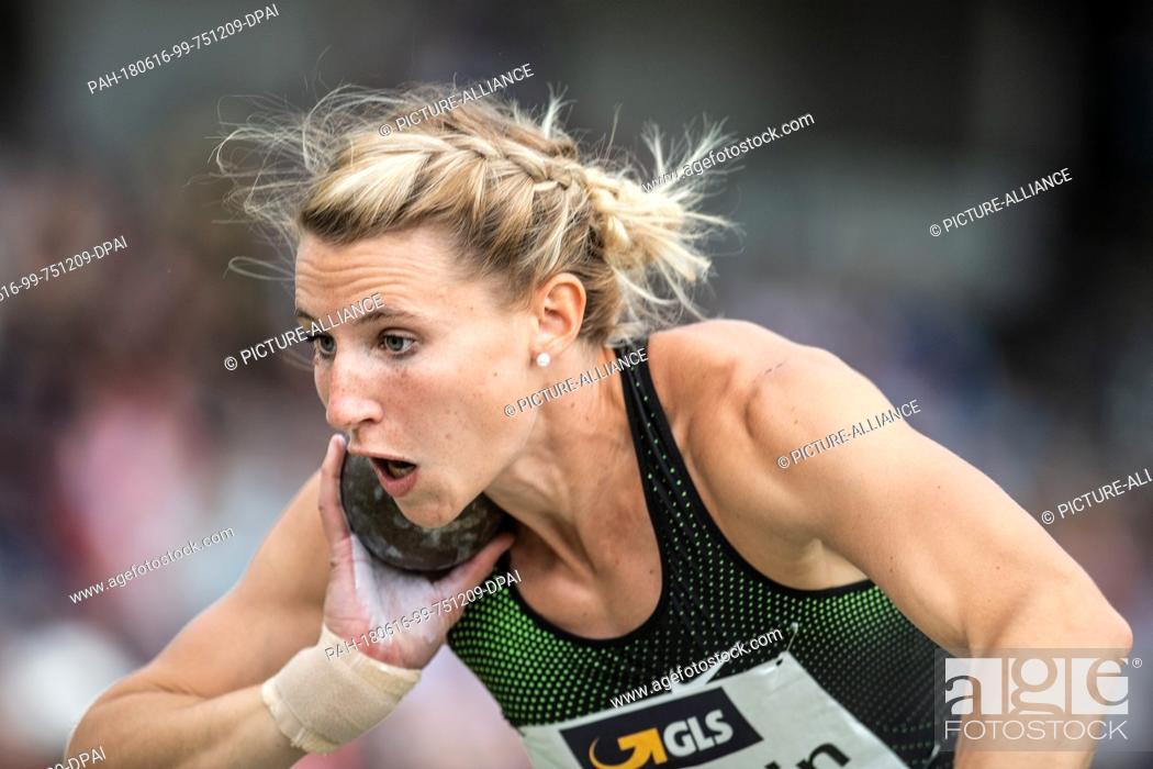 Stock Photo: 16 June 2018, Germany, Ratingen, Athletics: German heptathlon athlete Carolin Schaerfer during shot put. Photo: Bernd Thissen/dpa.