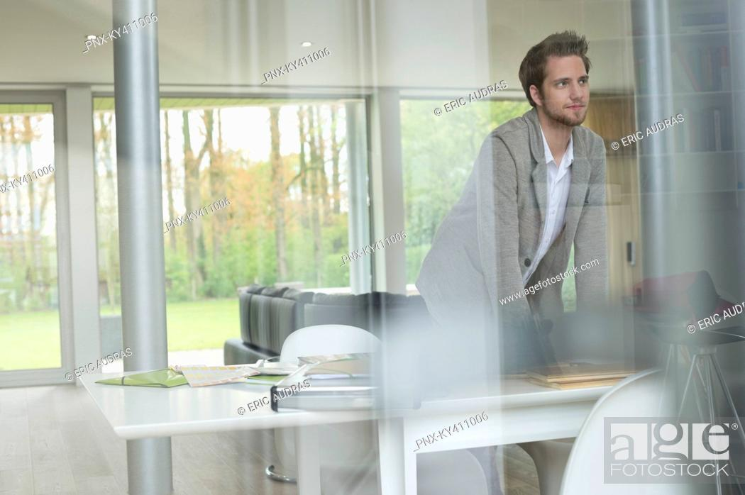 Stock Photo: Interior designer working in the office.