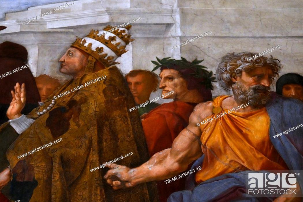 Stock Photo: The Vatican Museums reopen after the last lockdown for the Covid-19 pandemic, the Stanza della Segnatura ( Room of Segnatura) with the fresco by Raffaello.