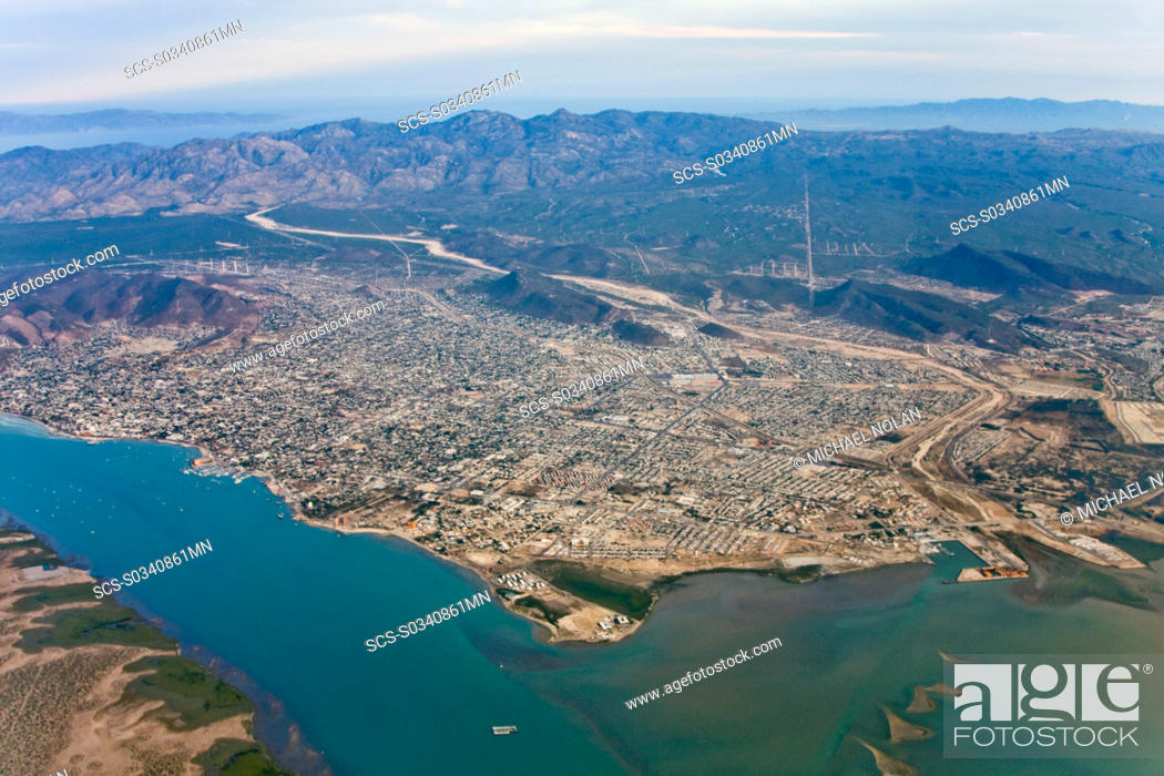 Aerial View Of The Capital City La Paz Baja California Sur Stock