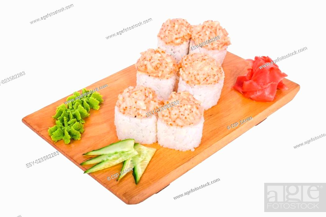 Imagen: white composition of sushi.