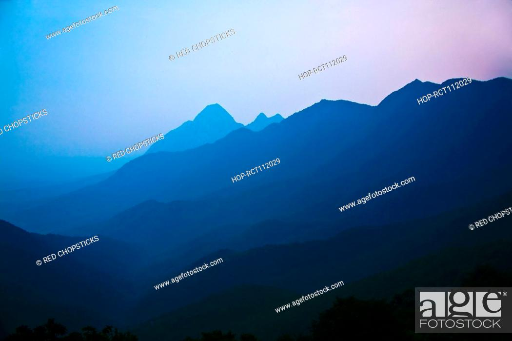 Stock Photo: Mountain covered with fog, Shaolin Monastery, Henan Province, China.