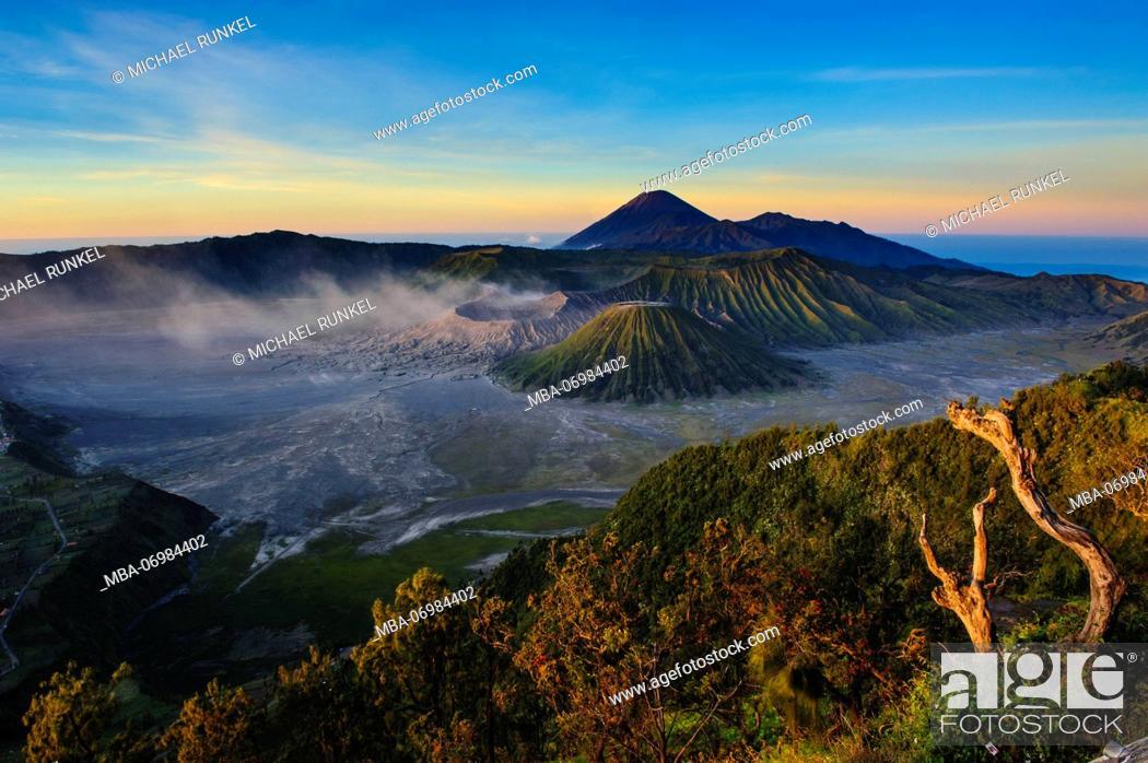 Stock Photo: Mount Bromo volcanic crater at sunrise, Bromo Tengger Semeru National Park, Java, Indonesia.