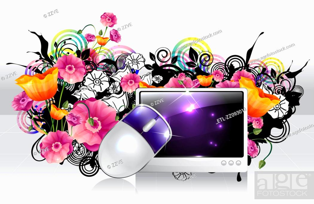 Stock Photo: Computer and mouse with flora design.