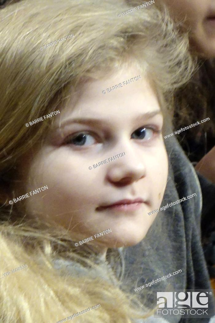 Stock Photo: Middle School Girl Looking at Camera, Wellsville, New York, USA.