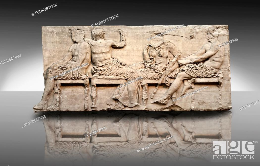 Imagen: Marble Releif Sculptures from the east frieze around the Parthenon Block IV 24-27. From the Parthenon of the Acropolis Athens.