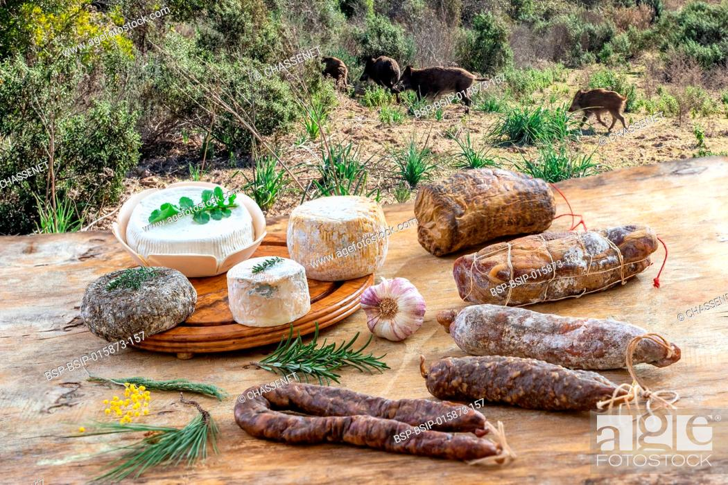 Stock Photo: Corsican cheeses and meats.