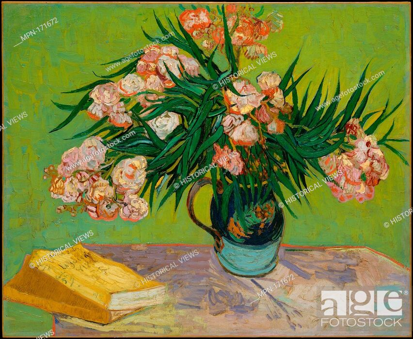 Stock Photo: Oleanders. Artist: Vincent van Gogh (Dutch, Zundert 1853-1890 Auvers-sur-Oise); Date: 1888; Medium: Oil on canvas; Dimensions: 23 3/4 x 29 in. (60.