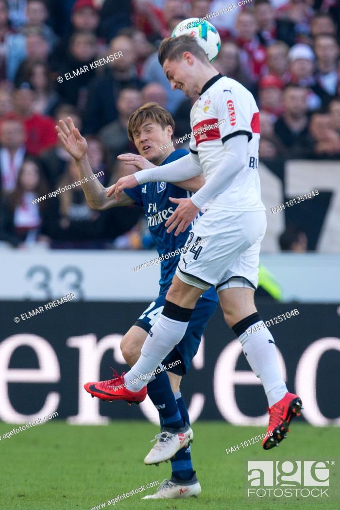 Stock Photo: Gotoku SAKAI (li., HH) versus Jacob Bruun LARSEN (S), Aktion, duels, .Fussball 1. Bundesliga, 28. matchday, VfB Stuttgart (S) - HSV Hamburg Hamburg Hamburg (HH).