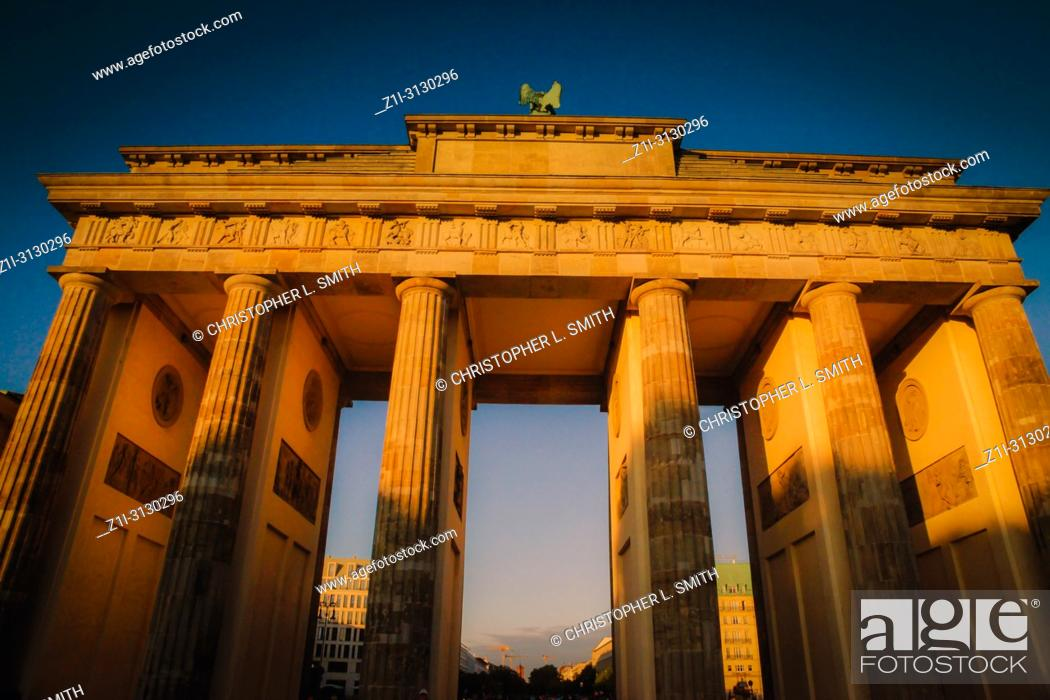 Stock Photo: The Brandenburg Gate at sunset in Berlin Germany.