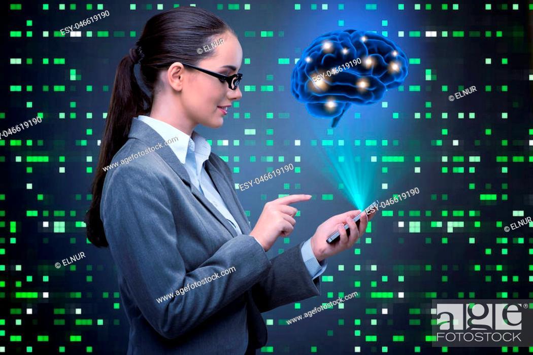 Imagen: Businesswoman in artificial intelligence concept.