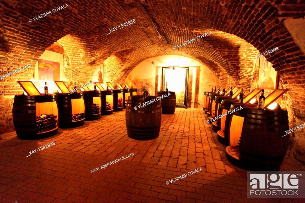 Stock Photo: Narodny salon vin - the historic wine cellar in Pezinok, where the best 100 slovak wines of each year are displayed, Slovakia.
