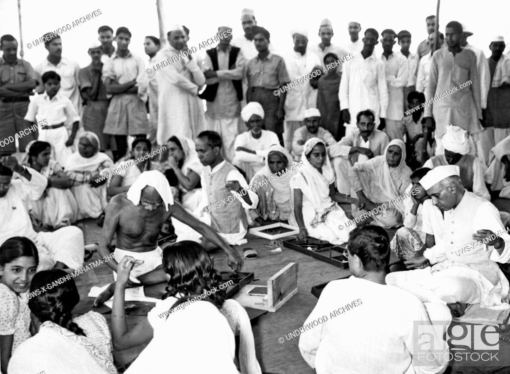 Mahatma gandhi's charkha spinning wheel Stock Photos and