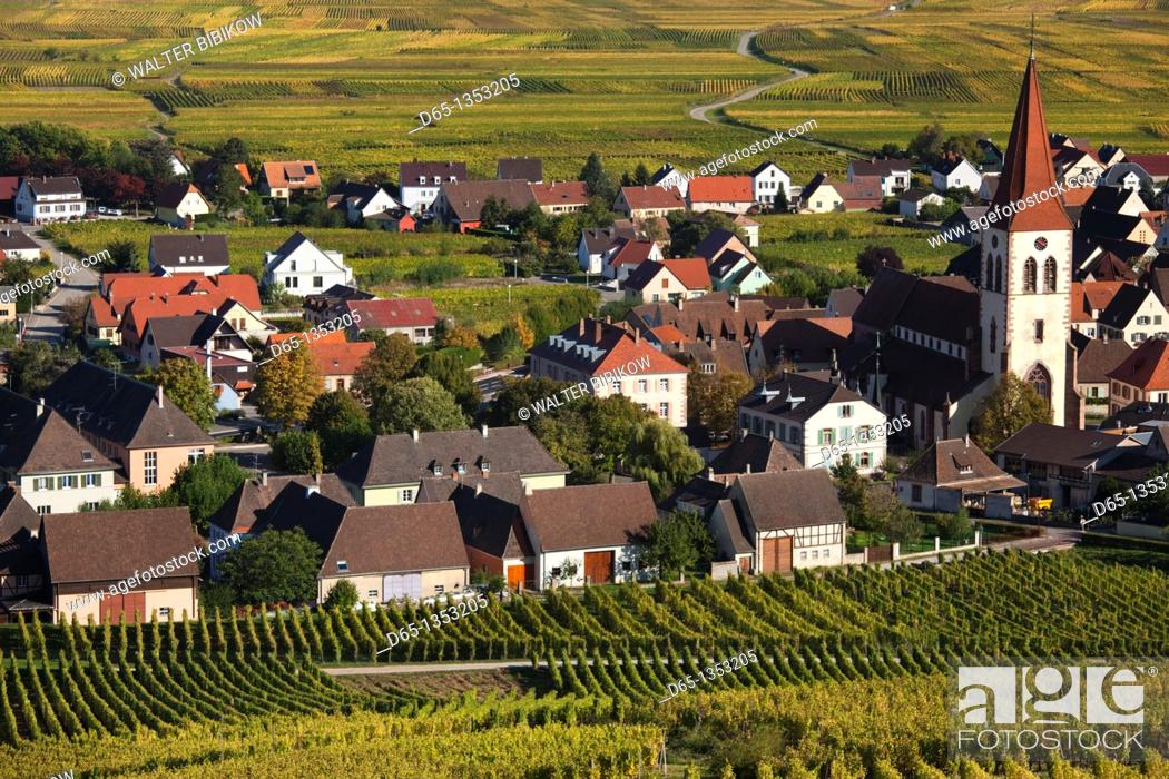 Stock Photo: France, Haut-Rhin, Alsace Region, Alasatian Wine Route, Ammerschwihr, afternoon town view, autumn.