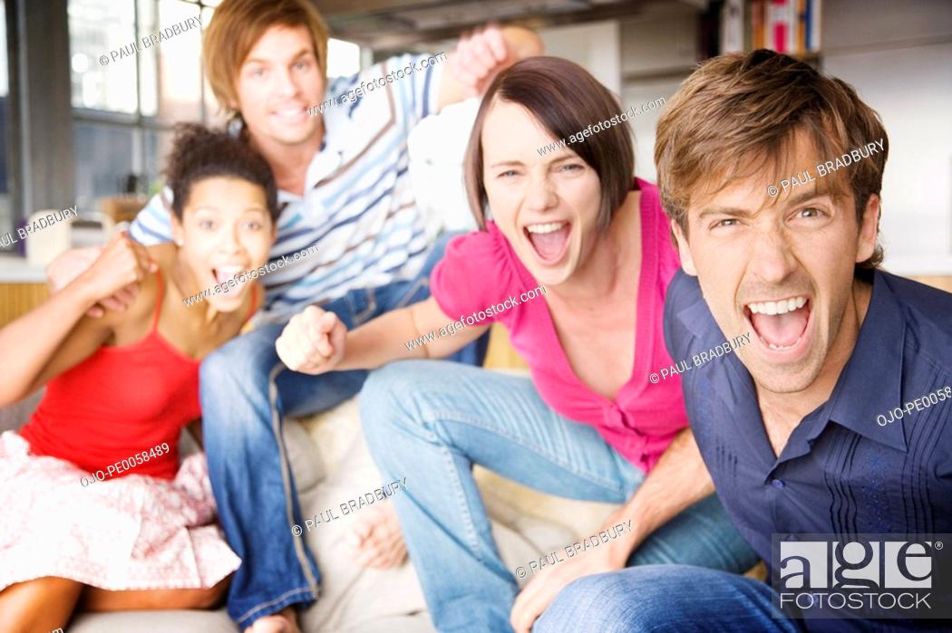 Stock Photo: Two couples in a living room having fun.