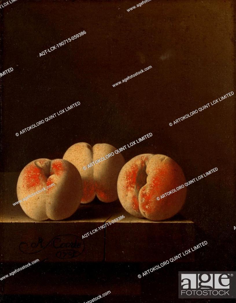 Stock Photo: Three Peaches on a Stone Plinth, Three peaches on a stone plinth, Three peaches on a stone plinth for a dark background, fruits: peach, Adriaen Coorte, 1705.