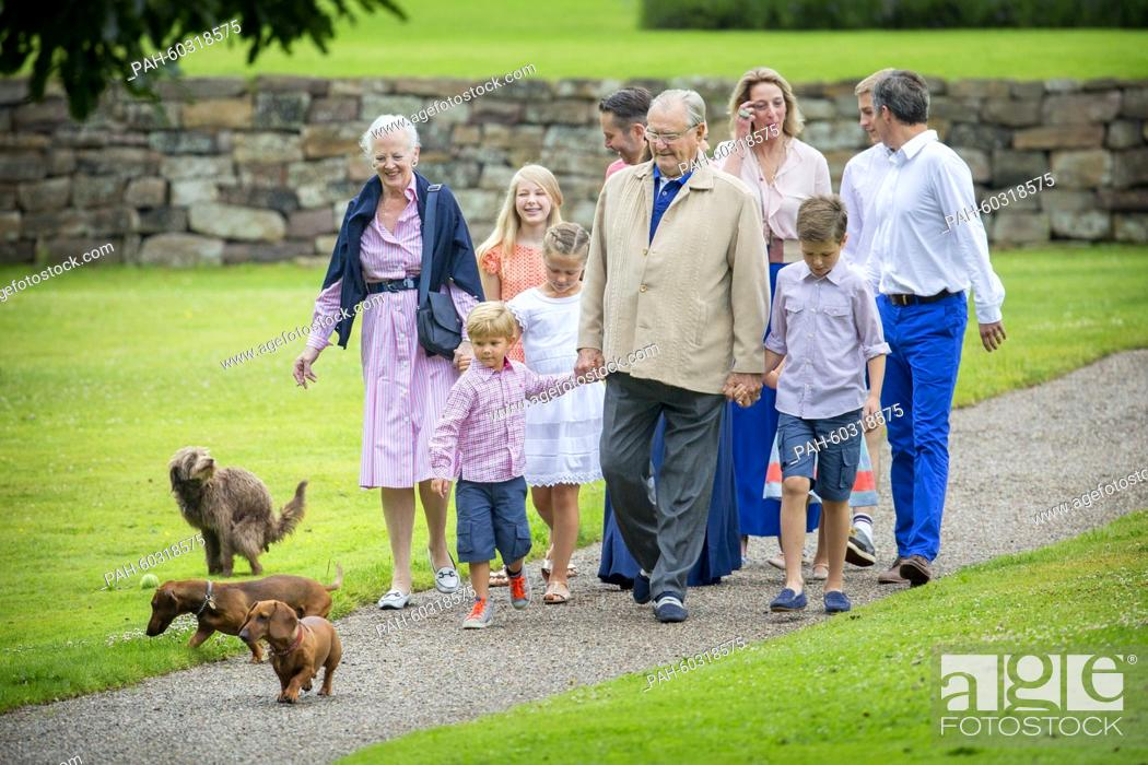 Stock Photo: Danish Queen Margarethe, Prince Henrik, Crown Prince Frederik, Crown Princess Mary, Prince Christian, Princess Isabella, Prince Vincent, Princess Josephine.