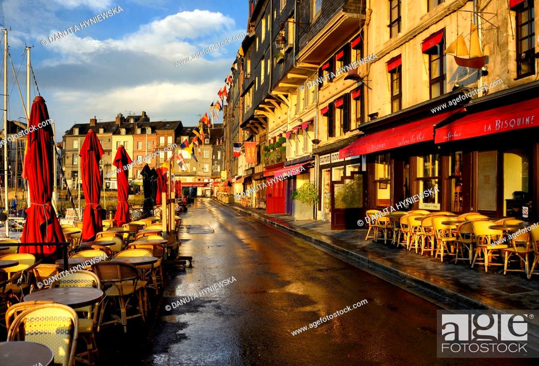 Stock Photo: empty streets of old town of Honfleur in early morning, Viux Bassin, Calvados, Normandy, France.
