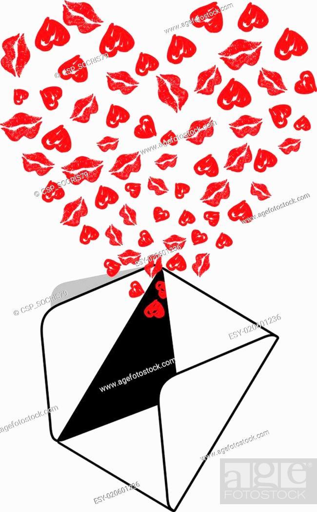 Vector: Envelope Kiss Love.