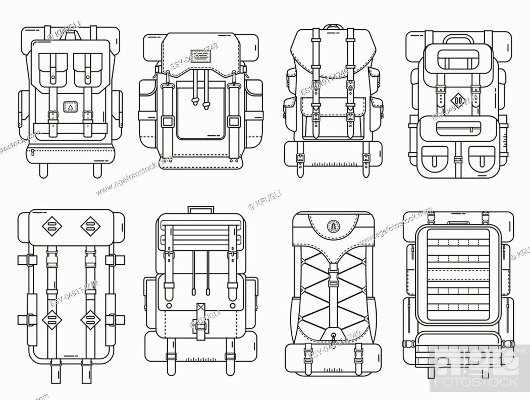 Stock Vector: Hiking backpack set in thin line design. Tourist retro backpacks outline vector illustration. Classic styled camping backpacks with sleeping bags.