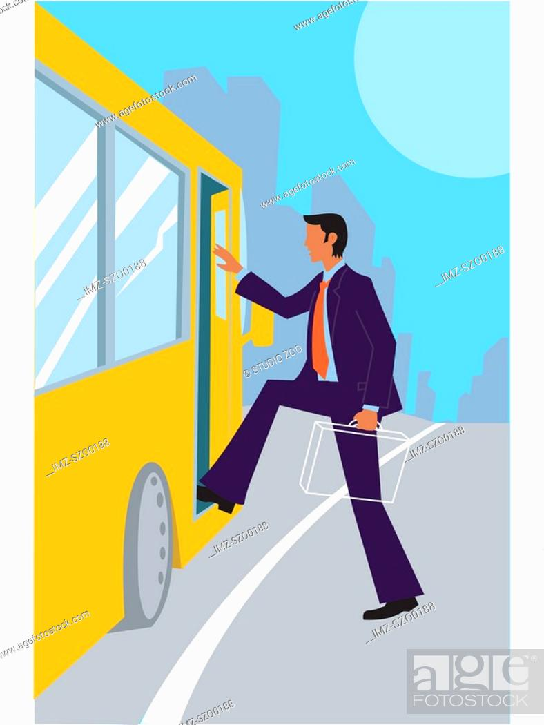 Stock Photo: Man stepping on to a public bus.