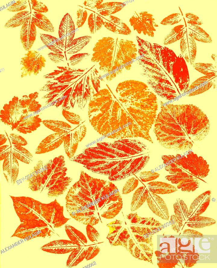 Stock Photo: Abstract background, watercolor: leafs.