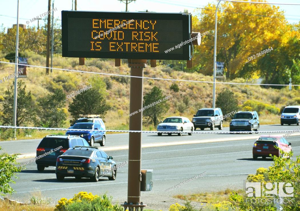 Stock Photo: Covid-19 sign, New Mexico.