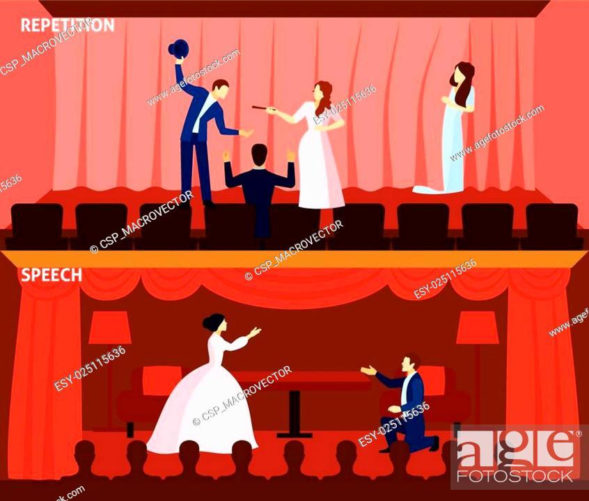 Vecteur de stock: Theater performance 2 flat banners composition.