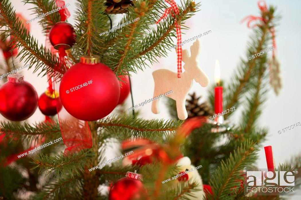 Stock Photo: Decorated Christmas tree, part of.