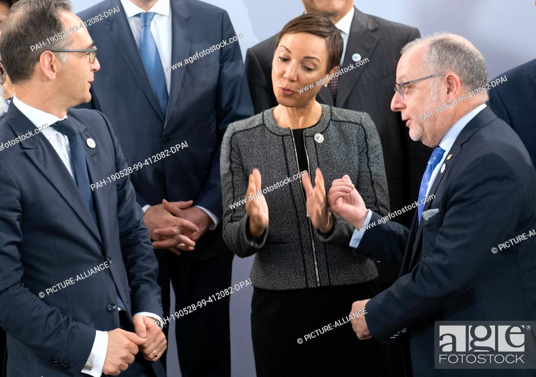 Imagen: 28 May 2019, Berlin: Heiko Maas (SPD, l-r), Federal Foreign Minister, Kamina Johnson Smith, Foreign Minister of Jamaica, and Jorge Faurie.
