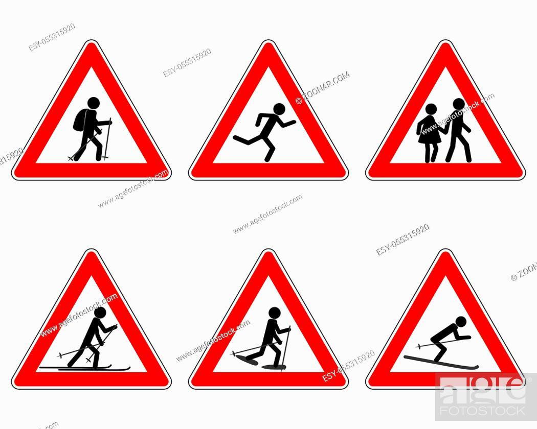 Photo de stock: Verkehrsschild für verschiedene Sportarten - Traffic warning sign for various sports.
