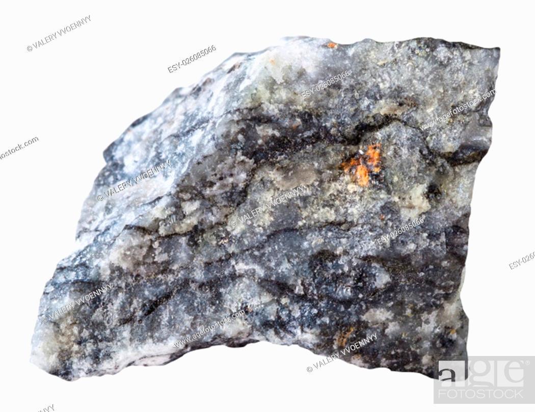 Stock Photo: macro shooting of specimen natural rock - piece of stibnite (antimonite) mineral stone isolated on white background.