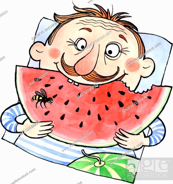 Stock Photo: A man eating a large slice of watermelon.