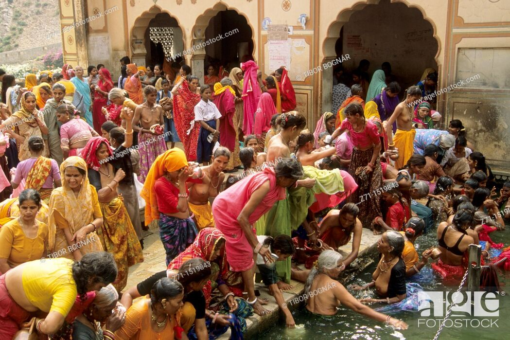 Stock Photo: India Jaipur Galta Temple festival.