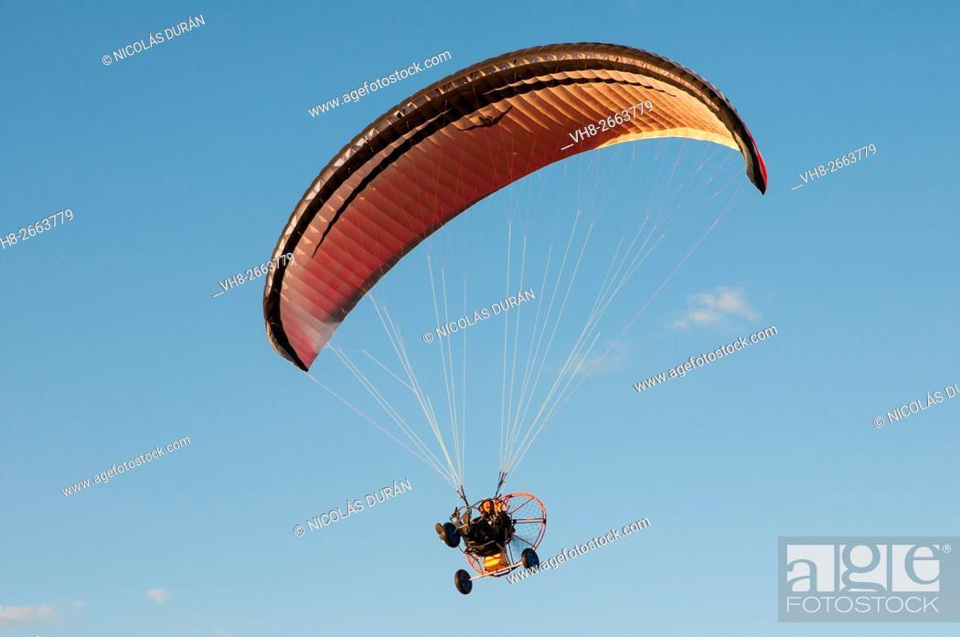 Stock Photo: Paramotor flight. Alburquerque, Badajoz province, Extremadura, Spain.