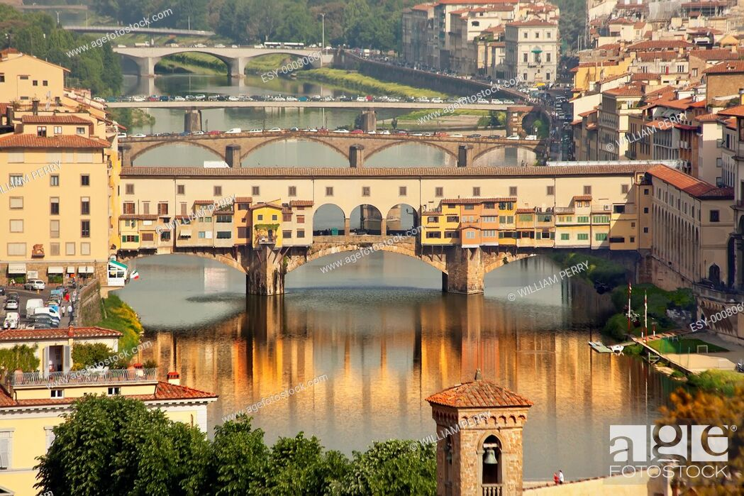 Stock Photo: Ponte Vecchio Covered Bridge Arno River Reflection Florence Italy Bridge is the oldest bridge in Florence built in 1345 by Neri di Fioravante from Michelangelo.