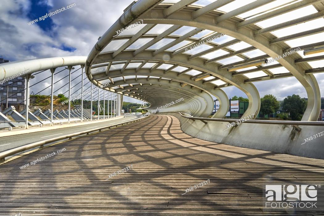 Stock Photo: Bridge over Galindo River, Barakaldo, Biscay, Basque Country, Spain, Europe.