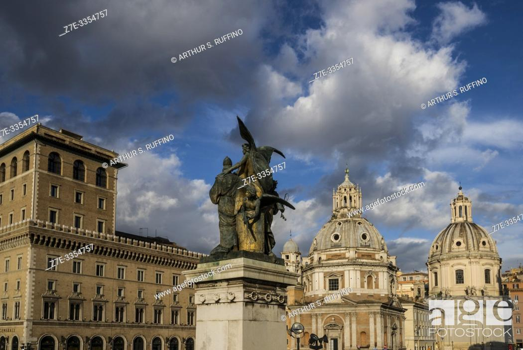 "Stock Photo: Sculptural group of """"Il Pensiero (Thought)"""" by Giulio Monteverde. Victor Emmanuel II Monument (Monumento Nazionale a Vittorio Emanuele II)."